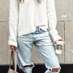 Πως να φορέσεις boyfriend jeans με πουλόβερ το χειμώνα - 8 outfit ideas
