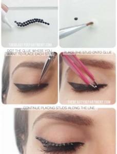 TheBeautyDepartment.com Black Studded Liner Steps 228x300 - Make up Χολιγουντιανά μάτια