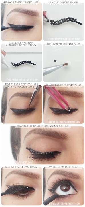 TheBeautyDepartment.com Black Studded Liner Steps - Make up Χολιγουντιανά μάτια