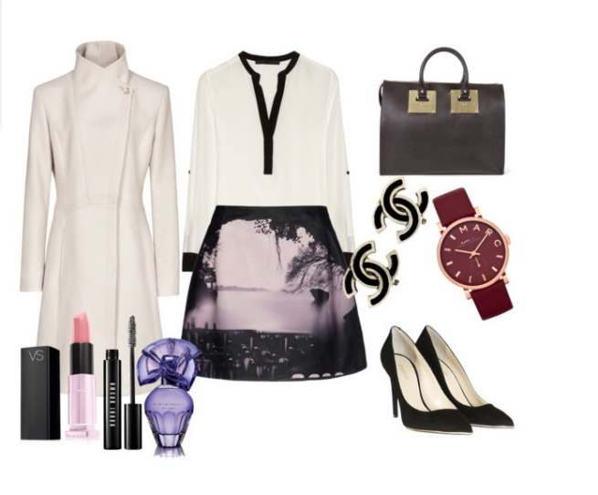 Clip18 - πουκάμισο Karl Lagerfeld παλτό Reiss φούστα Mary Katrantzou γόβες Saint Laurent