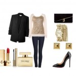 Evening ensemble with stylish casual and glam elements