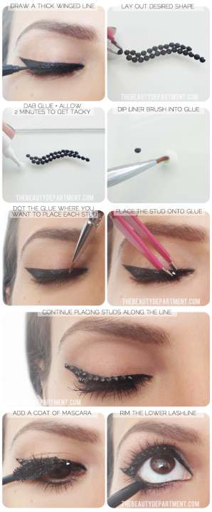 TheBeautyDepartment.com Black Studded Liner Steps - Make up Χολιγουντιανά μάτια